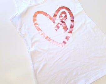 Rose Gold Heart and Ribbon Racerback Tank Top, Race For a Cure Tank Top, Breast Cancer Awareness Tank Top, Pink Ribbon Racerback Tank Top