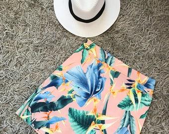 Pink mini skirt, printed skirt, floral skirt, summer skirt, size: S,M,L