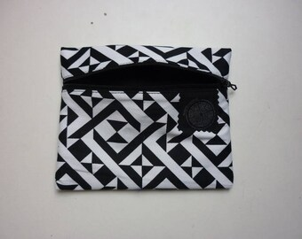 black and white geometric patterned cotton pouch