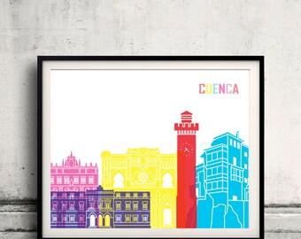 Cuenca ES skyline pop - Fine Art Print Glicee Poster Gift Illustration Pop Art Colorful Landmarks - SKU 2411