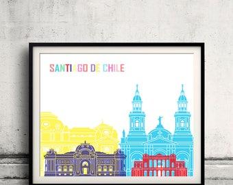 Santiago de Chile V2 skyline pop - Fine Art Print Glicee Poster Gift Illustration Pop Art Colorful Landmarks - SKU 2549
