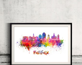Halifax V2 skyline in watercolor over white background with name of city Poster art Illustration Print -SKU 2834