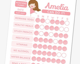 Pink girl habit tracker template, editable goal tracker, printable chore chart, planner pages, weekly habit planner, habit checklist