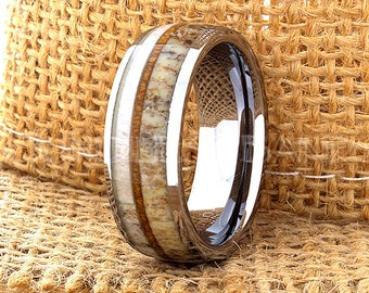 Tungsten Ring Tungsten Wedding Ring Band Mens Women's Wedding Band Red Wood Deer Antler Ring Promise Anniversary Dome 8mm Matching Ring Set