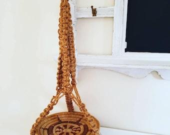 Hanging planter 1970s string macrame planter - vintage hanging planter