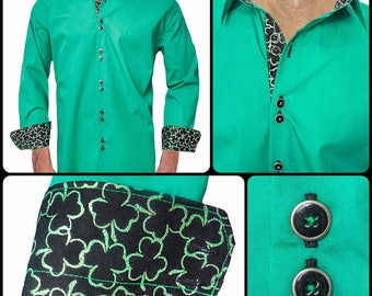 Mens St Pattys Day Dress Shirts - Made To Order in USA