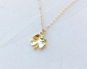 Clover Necklace, Tiny Gold Vermeil Four Leaf Clover Charm on 14K Gold Filled Chain, Good Luck Charm Jewellery, Shamrock Lucky Charm Necklace