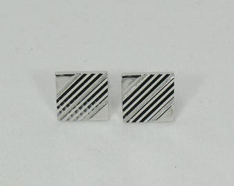 Square Vintage Swank Cufflinks with Etched Diagonal Grooves - Silvertone High Gloss Finish