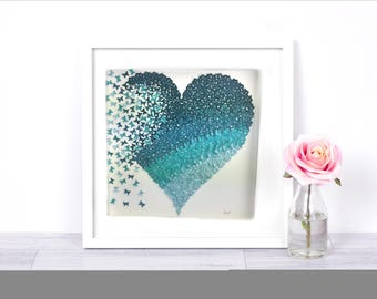 3D paper art butterfly heart  | shades of Teal ombre  butterfly heart wall art | paper butterflies wall art girls room |paper heart | paper