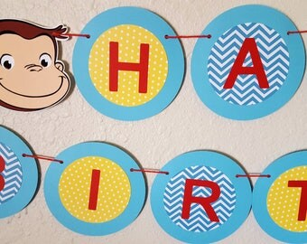 Curious George Birthday Banner, Curious George Name banner, Curious George Shower banner, I AM 1 banner, Monkey, PBS, Curious George Party