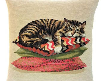 Brown Tabby Cat Pillow Cover - Cat Lover Gift - Cat Cushion Cover - 18x18 Belgian Tapestry Throw Pillow - Cat Decor -  PC-5662