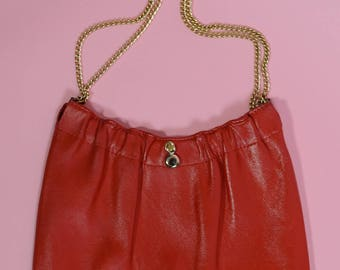 Vintage 80s Red Faux Leather Chain Strap Handbag