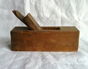 Antique French woodworking tool, vintage French country planer great for as a joiner or handyman gift