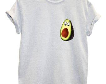 Avocado Pocket T-Shirt, shocked avocado funny hipster healthy vegan food cartoon gift mens womens kids unisex hilarious 100% cotton gift L87