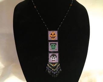 Woven Bead Halloween Panel Necklace