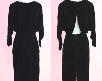 Vintage Cocktail Party Dress // Black, Velvet, Open Back, Vintage 80s, 90s, Women Size Small