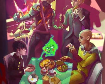 One Punch Man + Mob Psycho + PPG PRINT