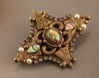 Vintage Sorrelli Antqiued Gold Tone  Abalone Shell Brooch | Victorian, Arts & Crafts Inspired