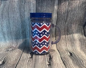 Monogramed 16oz 4th of July Mason Jar Cup