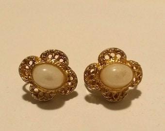 Vintage Faux Opal Gold Clip On Earrings