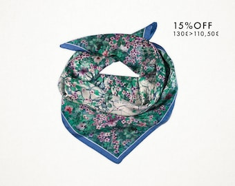 """15% OFF. Silk scarf """"Once upon a time"""" Carré 90x90cm. Twill silk. Fashion. Accessories. Made in Italy. Neckerchief. Chal. High quality."""