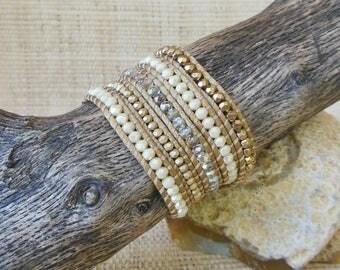 Beaded Wrap Bracelet:Gold Crystal Mix/Vegan Wrap Bracelet/5 Wrap Bracelet/Neutral Bracelet/Layering Bracelet/Gold Wrap Bracelet/Gift for Her