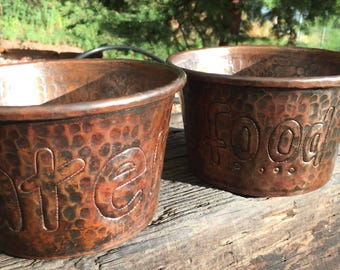 Pure Hammered Copper Dog Food and Water Bowl Set