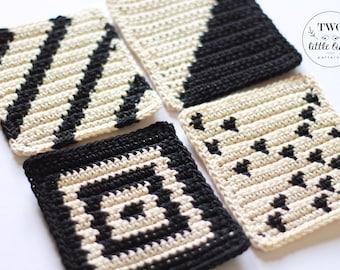 Crochet pattern, TEAGAN COASTER SET, coaster pattern, crochet coaster pattern, coaster set, crochet home decor, crochet coasters, geometric