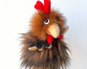 Cockerel. Little cock. For little hands. Bibabo. Toy glove. Hand puppet. Marionette.