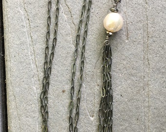 Large Freshwater Kasumi Pearl with Oxidized Sterling Silver Chain and Tassel by SeeJanesBeads