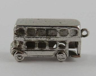Double Decker Bus Sterling Silver Vintage Charm For Bracelet