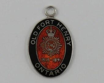 Enamel Old Fort Henry Ontario Sterling Silver Vintage Charm For Bracelet