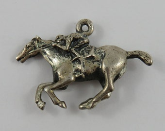 Racing Horse With Jockey Sterling Silver Vintage Charm For Bracelet