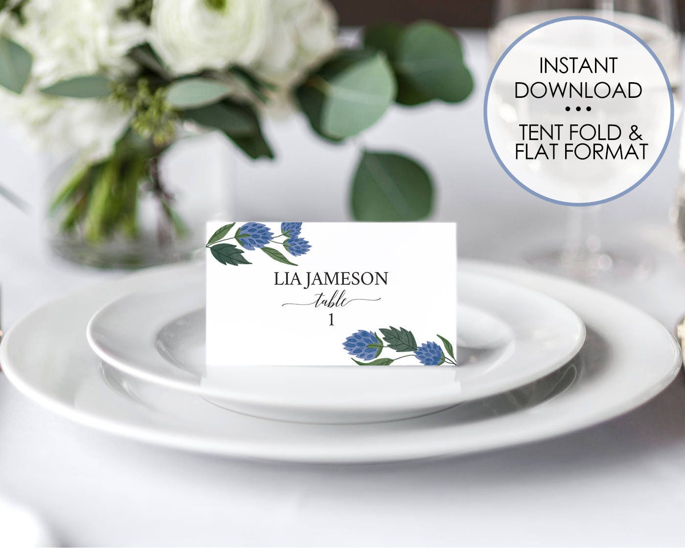 Printable Wedding Place Cards Editable Placecard Template Name card ...
