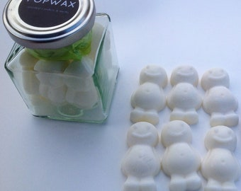 scented 100% natural soy Wax melts wax tarts jar of six scented popwax people shaped wax melts  Hand made