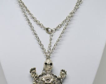 Large silver tone turtle necklace