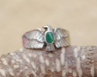 Eagle ring - malachite ring - vintage ring - malachite jewelry - sterling silver ring