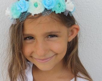 Aqua blue headband, accessories girls, flower girl headband,  hard plastic headband, fiori capelli, flower crown, hair band, flower headband