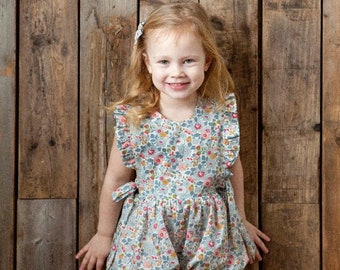 Eve Handmade Girls Liberty Print Frill Playsuit, Liberty of London Tana Lawn