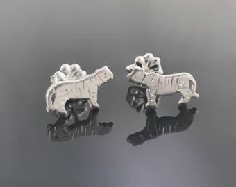 Tiger earrings - Sterling silver tiger earrings - Big cat earrings - Cat stud earrings - Tiger jewelry