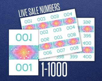Live Sale Numbers 1 - 1000 * LLR Home Office Approved * 8.5x11 * DIY Print * Facebook Sale * Periscope * Rainbow Design * Instant Download