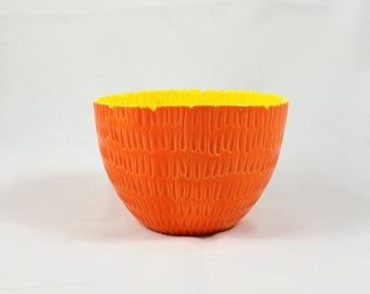Carved Orange Ceramic Pot