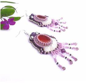 Embroidered beads and orange agate earrings, designer jewelry, clip OPTION