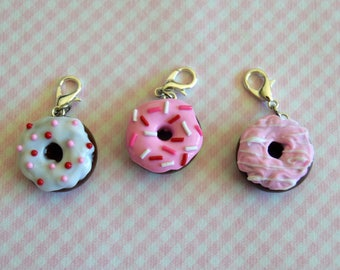 Valentine's Day Donuts, Polymer Clay Charm, Miniature Food Jewelry, Donut Charm, Stitch Marker, Progress Keeper, Chocolate Donut, Food Charm