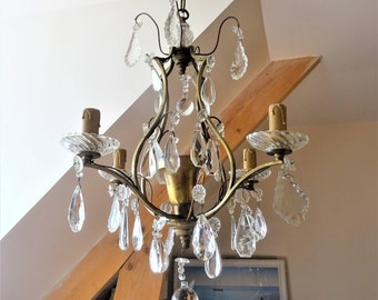Antique chandelier pendants faceted Crystal and glass 4 lights-Suspension laitonnee 1st half of 20th century/illuminati10