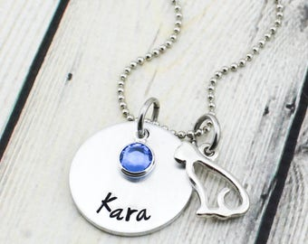 Personalized Cat Necklace - Personalized Cat Jewelry - Cat Lover Gift for Girl - Girl's Name Necklace - Personalized Necklace with Cat Charm