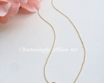 14k Gold filled single bead necklace. Dainty necklace. Bridesmaid necklace. Wire wrap necklace
