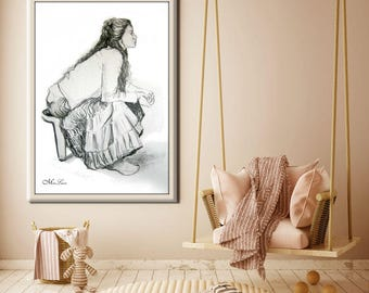 Female Figure Large Print from Original Drawing Beautiful charcoal drawing Portrait girls room décor Wall Art By Miri Lavee
