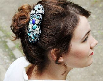 Blue hair comb / Bridal hair fascinators / Unique bridal hair accessories / Wedding hair decoration / Formal event jewelry