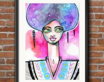 Kaminari Goddess  - Original Watercolor Abstract Woman galaxy portrait Painting